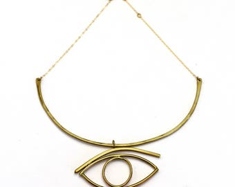 Big Eye Necklace Evil Eye Slider necklaceEgyptian Eyelash Eyebrow curved bar hammered brass gold filled necklace modern revival