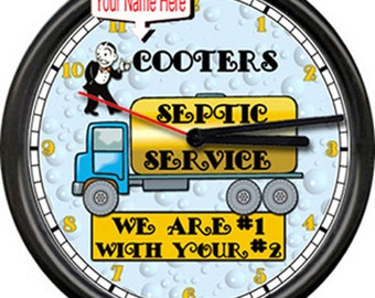 Personalized Your Name Company Septic Service Pumping #1 With #2  Retro Vintage Wall Clock