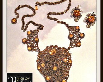 Vintage Yellow Art Deco Filigree Necklace Matching Earrings Demi Parure FREE SHIPPING