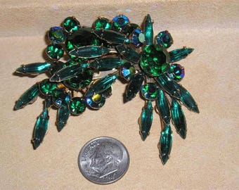 Vintage Unsigned Beau Jewels Layered Brooch With Green And Iridescent Navette Rhinestones Late 1950's Jewelry 2177