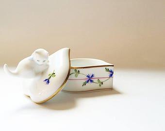 Porcelain Heart Engagement Ring Box Herend Heart Trinket Box Cat Lid