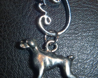 Love infinity with boxer pendant with braided faux leather cord