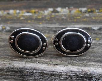 Vintage Abstract Black & Gold Cufflinks. Gift for Men, Dad, Groom, Groomsmen, Wedding, Anniversary, Birthday