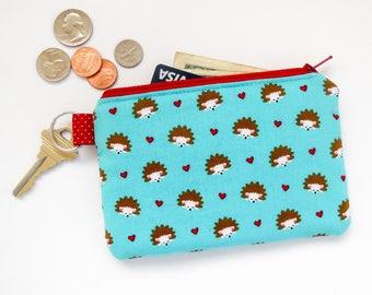 Hedgehogs Mini Wallet, Coin Purse, Zipper Bag, Credit Card Case
