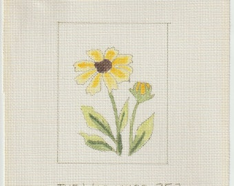 Yellow Daisy Hand Painted on 18 ct Needlepoint Mono Canvas - The Workshop #252 Daisy Flower