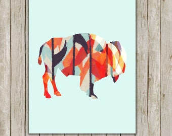 8x10 Buffalo Modern Art Print, Bison Printable Art, Wild Game Print, Nursery Wall Art, Buffalo Poster, Home Decor, Instant Digital Download
