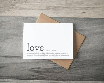 Love Definition Card - Anniversary Card - Love Card