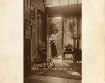 1902 Beautiful Young Woman and Interior of Edwardian Drawing Room Vintage  8x10 Photograph Reprint 087
