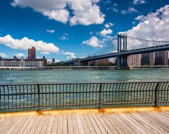 The Manhattan Bridge, seen from Brooklyn, New York. Photo Print, Metal, Canvas, Framed.