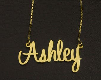 Custom Gold Name Necklace, Name with Necklace, Name Jewelry, Idea Gift, Personalized Jewelry, Diy name necklace, Gold Plate Name Necklace