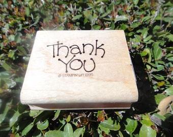 Rubber Stamp Craft Stamp wooden rubber stamp Rubber Wood Thank You Rubber Stamp Thank You Stamper
