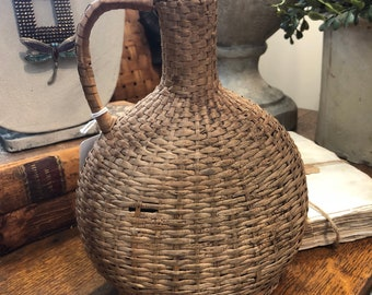 Old Rattan Wrapped Bottle