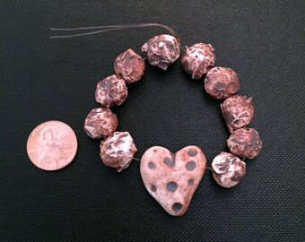 Handmade Beads; Pottery Beads, Ceramic Beads, Round Beads, Heart Bead, Natural Beads, Stoneware Beads, Porcelain Beads, Unique Beads, Earthy