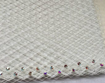 """New Special Order -- 1 Yard 9"""" wide Russian/French Veiling with Swarovski Crystal Rhinestone in Crystal AB color, U Pick the Color/Finish"""