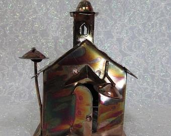 Copper Art Church Music Box , Plays Amazing Grace