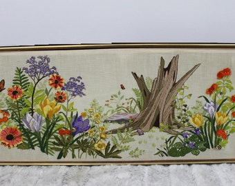Mid Century Modern, vintage flora and fauna embroidery scene