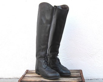 Vintage Black Leather Knee High Equestrian Riding Boots Ladies Size 9-9.5 Mens Size 8