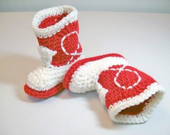 Crochet Baby Booties  Red and Natural Cowboy Booties  Western Baby Shoes