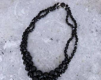 Vintage french jet necklace, black necklace, french jet necklace, vintage necklace, black glass beads, two strand black glass necklace,