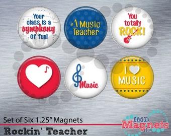 Personalized Music Teacher Magnets - Music Teacher Gift - Class Flair - Gift for Teacher Assistant - Stocking Stuffer - Music Teacher