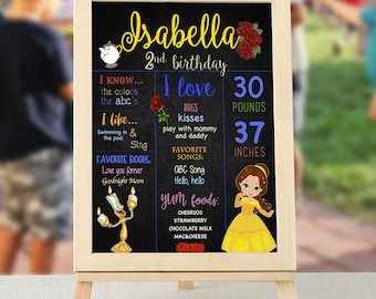 Belle Birthday Board, Beauty and The Beast Birthday Board, Belle from Beauty and The Beast Birthday Board