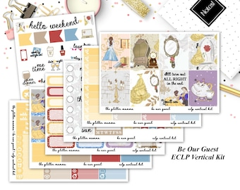 Be Our Guest | Disney Princess Planner Stickers | Beauty and the Beast | Full Weekly Vertical Kit | Erin Condren Vertical Planner