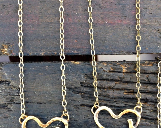 HEART with bird brass necklace - FREE shipping
