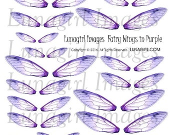 Purple FAIRY WINGS, digital collage sheet, dragonfly wings, fantasy art fairy jewelry earrings, printable wings, fairies ephemera DOWNLOAD