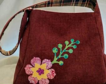 Handmade Shoulder bag/Appliqued/Burgundy