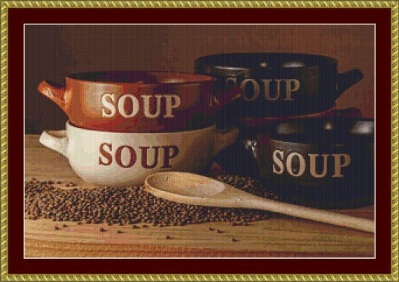 Soup Bowls Cross Stitch Pattern /Digital PDF Files /Instant downloadable