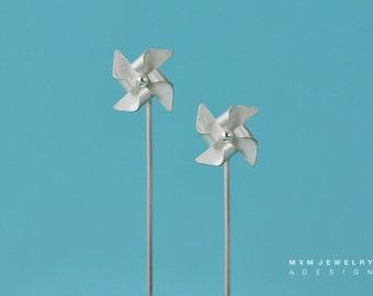 Hanfolded Sterling Silver Pinwheel Earrings W/Long Post