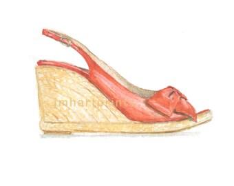 Watercolor Wedge, Wedge Print, Shoe Print, Shoe Art
