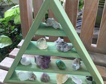 Triangle Shelves, Sage Triangle Shelf, Rustic Sage, Beautiful Green Pyramid Shelf, Meditation Shelf, Merkaba, Crystal Shelf, Meditation