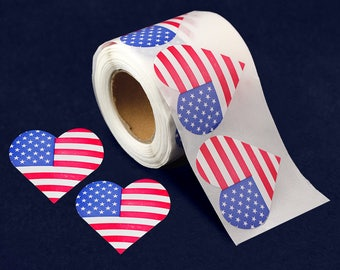250 American Flag Heart Stickers (250 Stickers) (ST-19-PT)