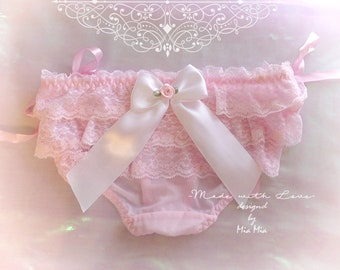 DDLG Lingerie Daddys Girl Pink Ruffles Lace White Bow O Ring Rose Thong Panties ,  DDLG Clothing BDSM Fairy Kei