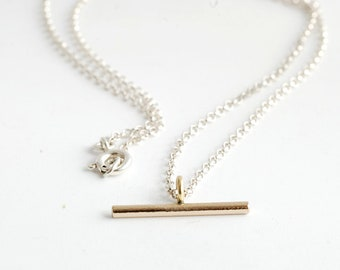 Minimal Brass Bar necklace on Sterling Silver chain