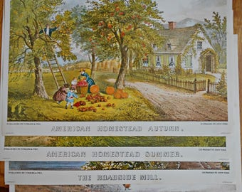 Currier & Ives American Homestead Prints Autumn, Summer, Mill, Home, Blacksmith