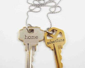 Two Key Necklace, Vintage Keys Necklace, Home Key, Stamped Key Necklace, Inspirational Necklace, Word Key, Two Keys, Personalized Necklace