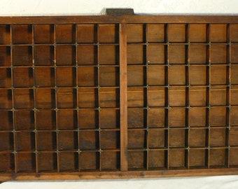 "Letterpress Tray Drawer Brass & Wood BIG 32"" x 16"" Hamilton Shelf Cubbies Compartments"