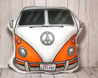 VW Bus Plush Pillow, 1963 VW Camper Van, Volkswagen Bus Shaped Pillow, Car Lover, Baby Nursery, Classic Car, Car Toy Pillow, Retro Camper