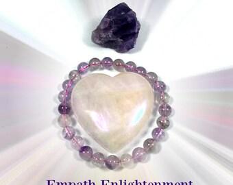 Empath Enlightenment Crystal Kit.  Super 7 Bracelet, Rose Aura Heart & Auralite!  Includes Empath Class From Licensed Psychic School!