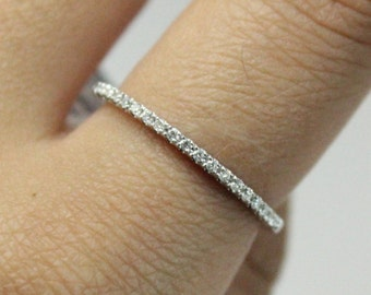 Thin Diamond Wedding Band 18k White Gold | Stacking Ring 18k White Gold | Diamond and White Gold Ring Band
