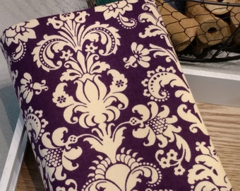 Reversible bible cover, NWT bible cover, New World Translation, Bible cover, plum damask Bible cover, grey Bible cover, purple damask cover