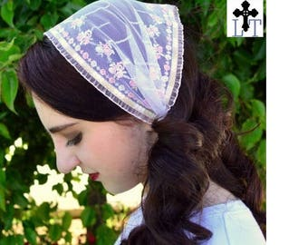 Church Head Scarf~ SCT29 - Headcovering Headband with ties in Pink Shabby Chic Shades, Embroidered with Ruffled Edges