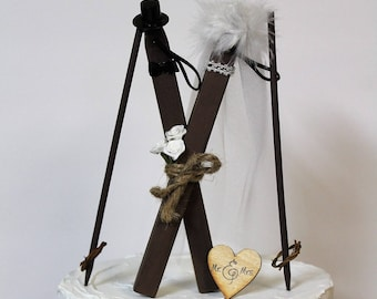 Wedding Cake Topper, Ski Cake Topper, Bride and Groom Skis, Wooden Skis Cake Topper-Grooms Cake Topper