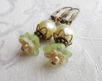 75% Off Clearance Sale, Double Blossom Flower Earrings made with Vintage Bead , Green, Cream, Pearl, Antique Brass