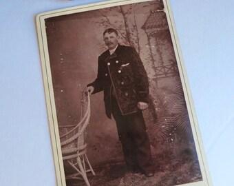 Uncle Albert Cabinet Card Photo Man Wearing Velveteen Jacket Nice Imagery Back Side