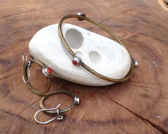 Carnelian and Brass and Silver Earring