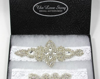 Wedding Garter Gift Set, Wedding Garter Set, Bridal Garter Set, Vintage Wedding, Crystal Garter Set - Style 001 A, Prom, wedding dresses