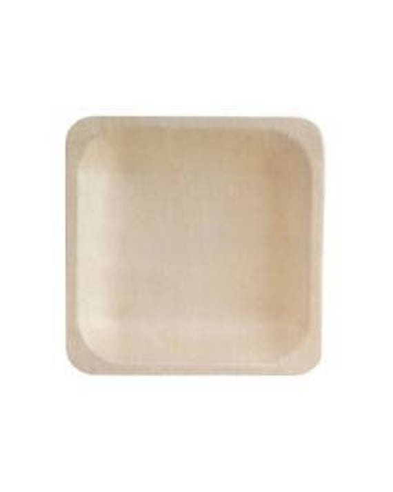 10 x bio wood canape plate cake plates disposable wood plate canape party plates disposable plate paper plate square paper plate  sc 1 st  Etsy & 10 x bio wood canape plate cake plates disposable wood